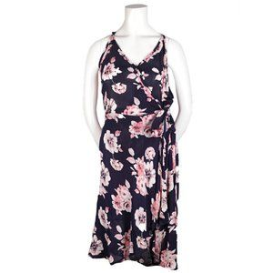 Band of Gypsies Short Wrap Navy Floral Dress L NWT